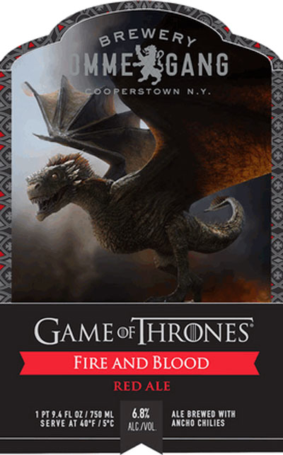 Ommegang Game of Thrones Fire and Blood Red Ale label